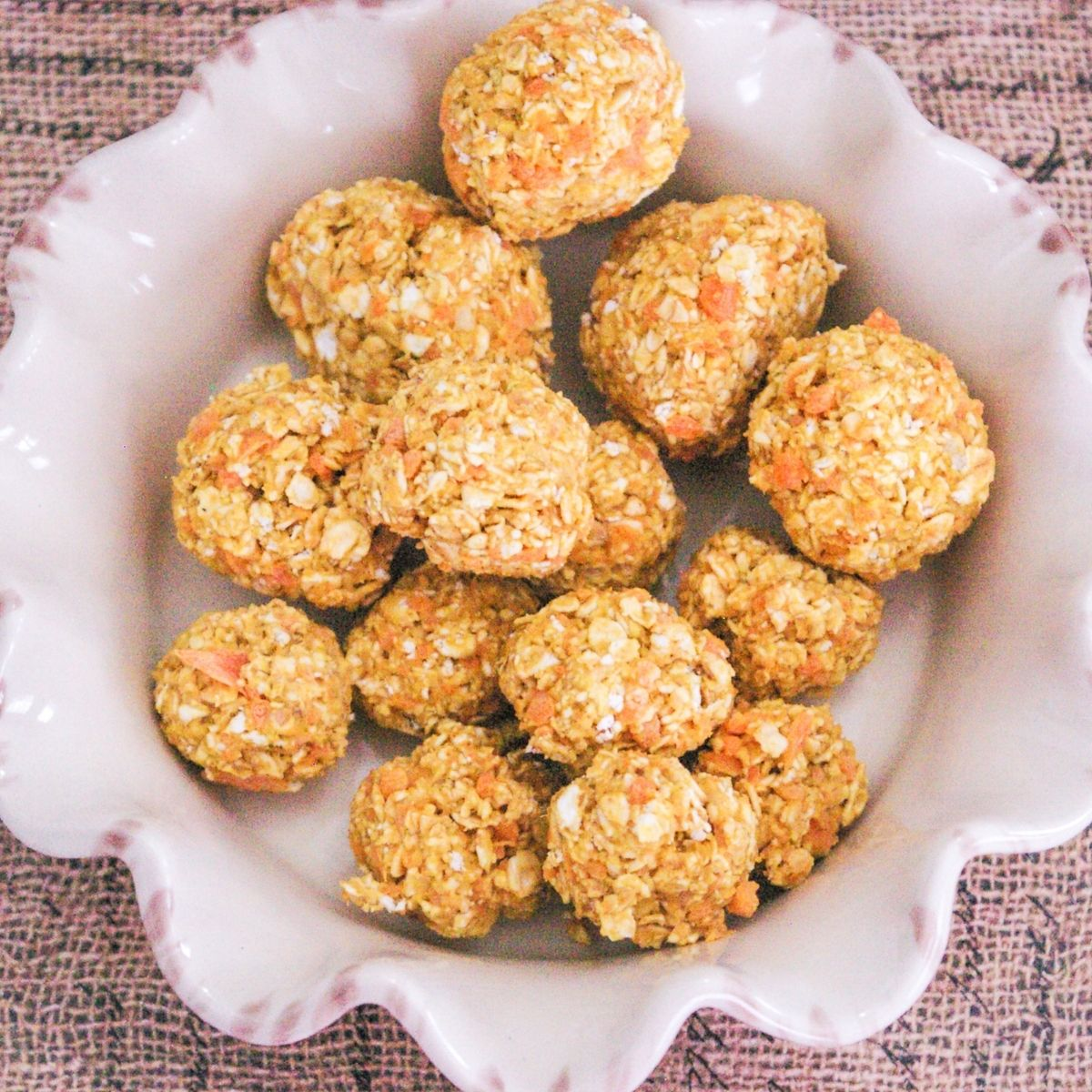 Peanut Butter and Baby Carrots Dog Balls