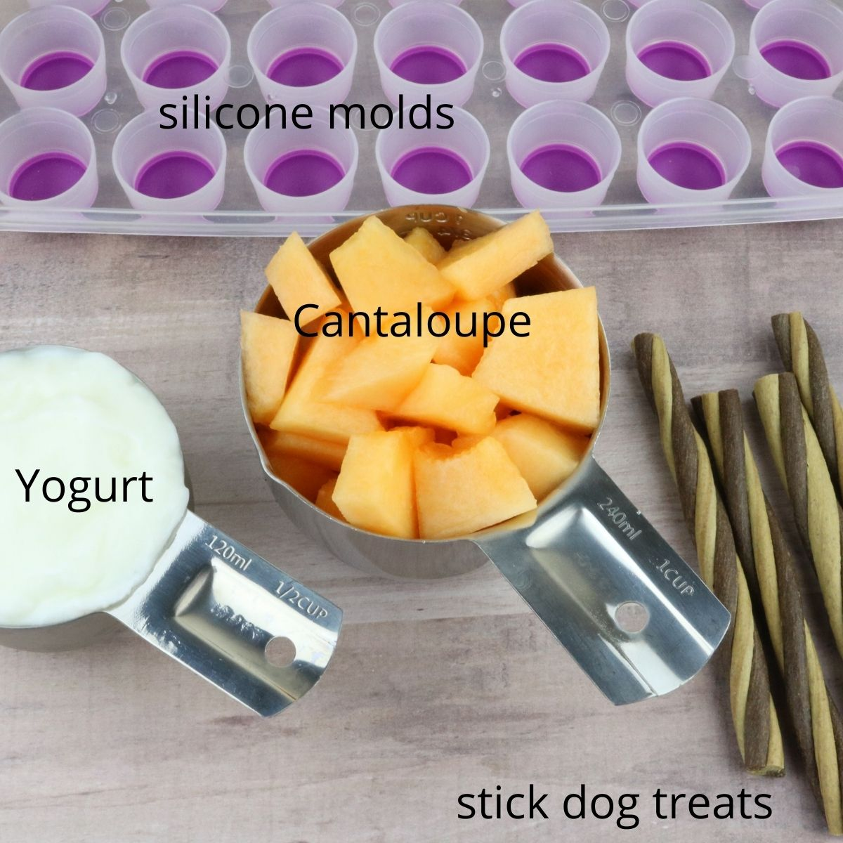 Cantlope and Yogurt Pupsicles